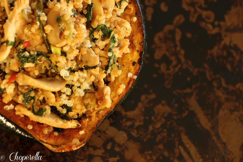 "Quinoa ""Fried Rice"" stuffed Acorn Squash | Choperella"